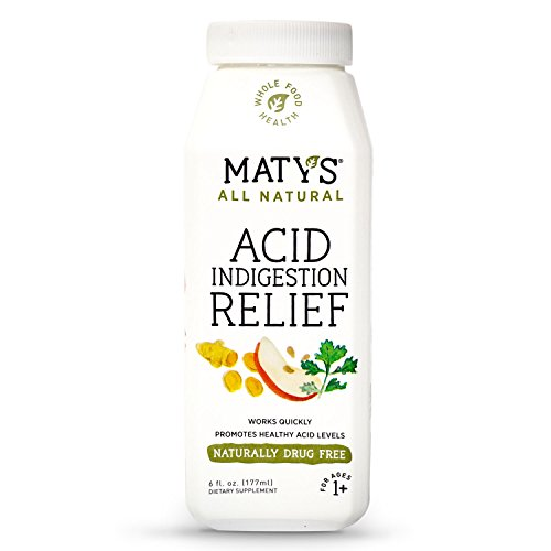 Maty's All Natural Acid Indigestion Relief, 6 fl. oz, All Natural, Healthy Ingredients To Ease Symptoms of Acid Indigestion Heartburn GERD and Acid Reflux, Promotes Healthy Stomach Acid Levels - Acid Natural