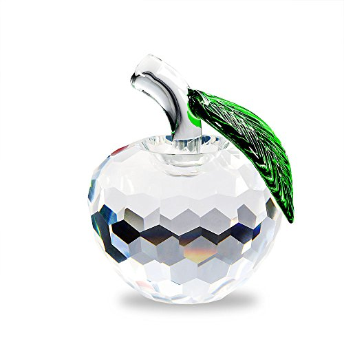 Glass Apples (Duosuny Crystal Apple Paperweight, 60mm Art Glass Apple Collectible Figurines Best for Lucky Christmas Eve Gifts/ Great Wedding Decor Gifts (Clear))