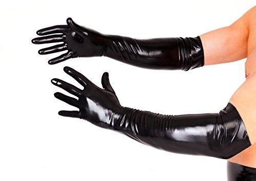 EXLATEX Latex Rubber Black Long Gloves Fetish Outfits Accessory Plus Size (Large, Black) (Plus Black Gloves)