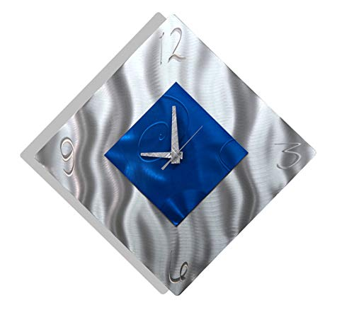 Blue Metal Decorative Wall Clock, Abstract Modern Clock for Living Room or Kitchen, Jon Allen Metal Art, Spare Moment Clock