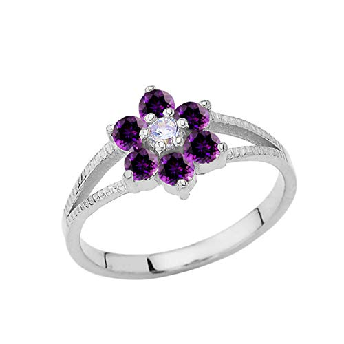 Certified 14k White Gold Personalized February Birthstone CZ Milgrain Flower Ring (Size 7.75)