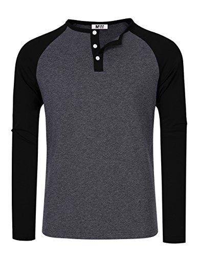 3 Button Shirt (MrWonder Men's Casual Slim Fit Raglan Baseball 3 Button Henley T-Shirts Long Sleeve Deep Grey and Black XL)