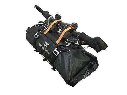 Moosetreks Handlebar Bag | Lightweight Rackless Mounting Bikepacking System | Adjustable Width 2-Way Roll Opening Waterproof Pack | Secure 3-Point Handlebar Attachment