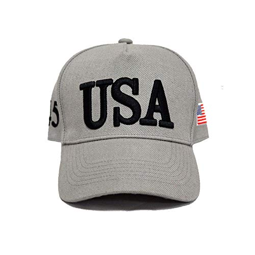 TTD Keep America Great 2020, with 45th President Donald Trump USA Cap/Hat and USA Flag Grey