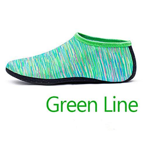 GEFANENR Zapatos De Buceo,Calcetines De Buceo Unisex Calzado De Agua Descalzo Línea Verde Calzado Deportivo Calcetines…