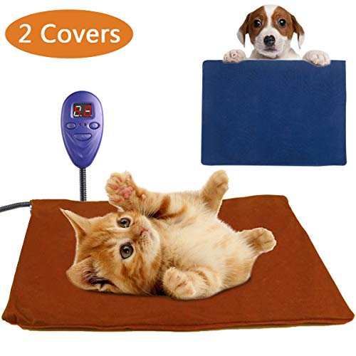 Pet Heating Pad for Cats Puppy Small Animals Electric Heating Pad Indoor Waterproof Adjustable Temperature Warming Mat with Chew Resistant Steel Cord and 2 Removable Washable Covers (11.9''15.8'') For Sale