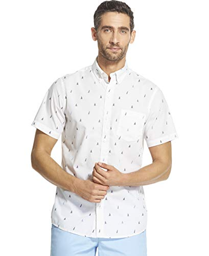 (IZOD Men's Breeze Short Sleeve Button Down Patterned Shirt, Legacy Bright White, XX-Large)