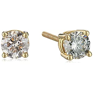 Certified 14k White Gold Diamond with Screw Back and Post Stud Earrings (J-K Color, I1-I2 Clarity)
