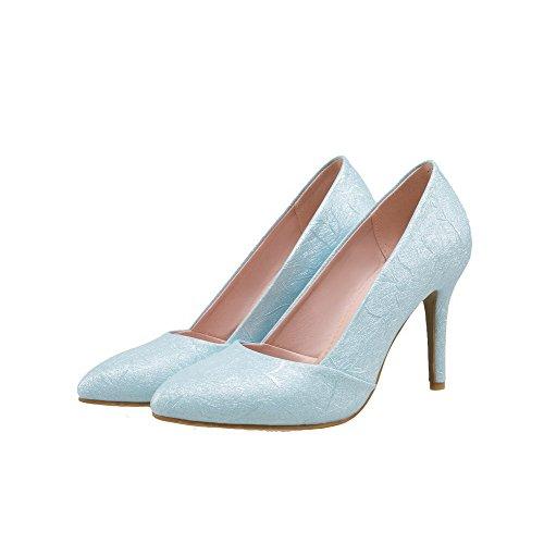 VogueZone009 Damen Hoher Absatz PU Rein Ziehen auf Spitz Zehe Pumps Schuhe See Blau