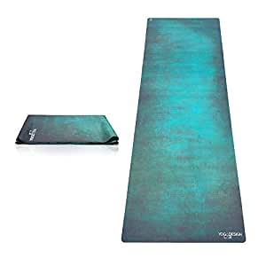 THE TRAVEL YOGA MAT by YOGA DESIGN LAB | Lightweight, Foldable, Eco Luxury Mat/Towel | Designed in Bali | Ideal for Hot Yoga, Bikram, Pilates, Barre, Sweat | 1mm Thick | Includes Carrying Strap! (Aegean Green)