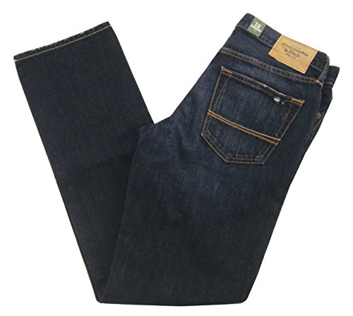 Abercrombie & Fitch Men's Slim Straight Jeans, Dark Wash, 30 x 32