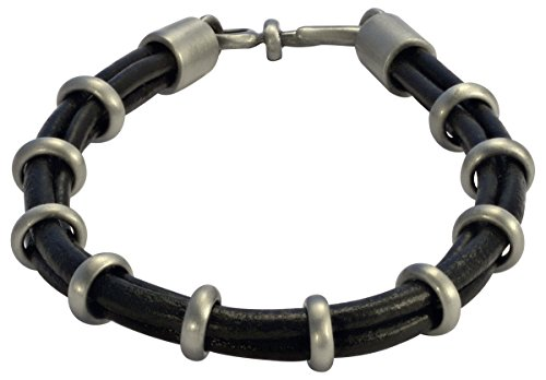 (Bico Raw Smoke Dance Black Leather Bracelet with 10 Adjustable Rings (FB411BLK 21cm-8in))