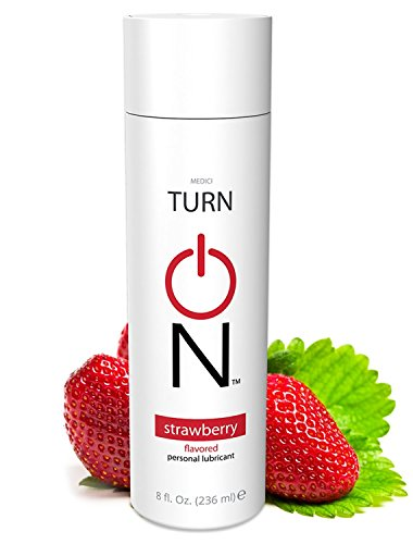 Turn On Personal Lubricant, Strawberry Lube, Flavored Lubricant with Great Strawberry Taste, Water Based Lube 8 oz