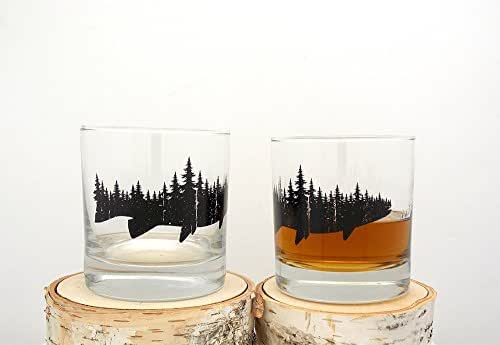 Whiskey Glasses - Fish and Forest - Set of Two 10.5oz Tumblers