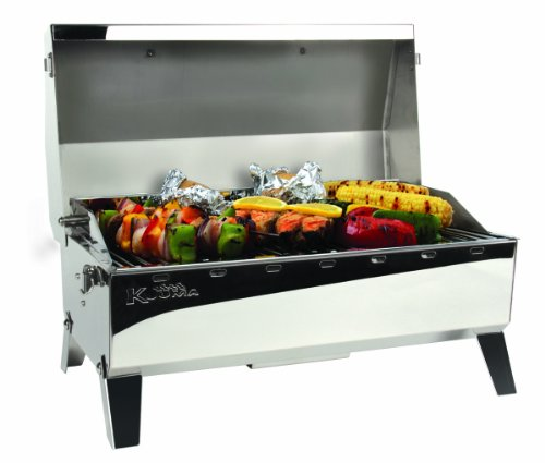 Kuuma Premium Stainless Steel Mountable Charcoal Grill w/ Inner Lid Liner by Camco -Compact Portable Size Perfect for Boats, Tailgating and More - Stow N Go 160