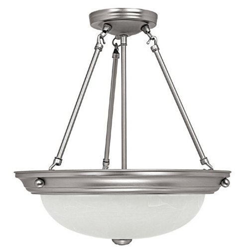 Capital Lighting 2718MN 3-Light Pendant, Matte Nickel Finish with Faux White Alabaster Glass -