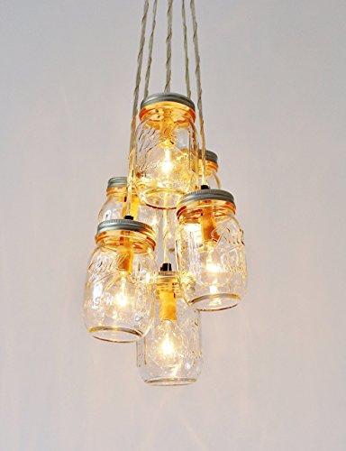Mason Jar Cluster Chandelier, 6 Clear Mason Jars by BootsNGus