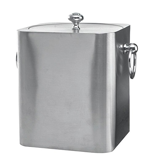 Service Ideas IBSQ3BS Ice Bucket, Stainless Steel, Square Design, 3L