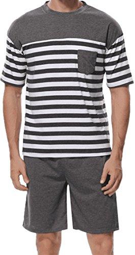 Sexymee Men's Broadcloth Short Sleeve Knee-Length Pajama Sets