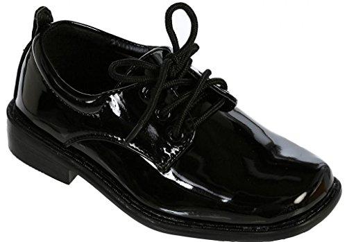 iGirlDress Black Patent Dress Oxford Shoes (8 M US Toddler, Black)
