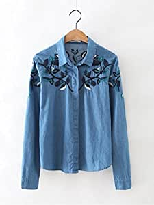 Camisas ¨ ¤ cuello Cowboy Camisa Bordado Manga Larga, vaquero azul, small: Amazon.es: Deportes y aire libre