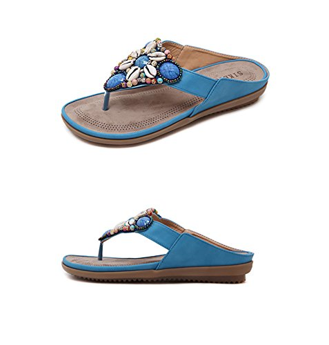 Cuentas Sandals para Mujer Imitación Summer de Low Zapatillas Shoes de Topcloud Comfy Chanclas Wedge Bohemia Azul Women Roman Diamantes Beach con ZBO71