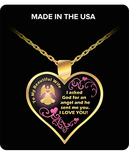(RC Rex Books Wife Necklace from Husband - to My Wife Necklace - Asked God for an Angel - Wife Gifts from Husband - Wife Birthday Gift Ideas)