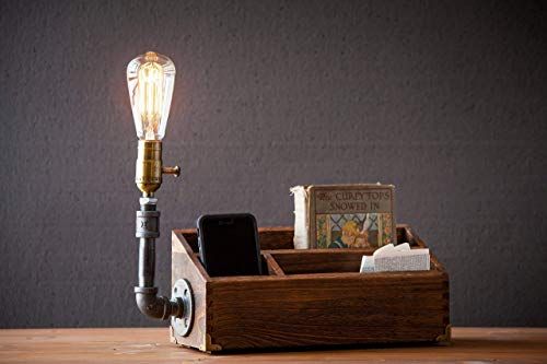 Industrial Steampunk pipe Desk Organizer table lamp in oak with Classic Edison bulb