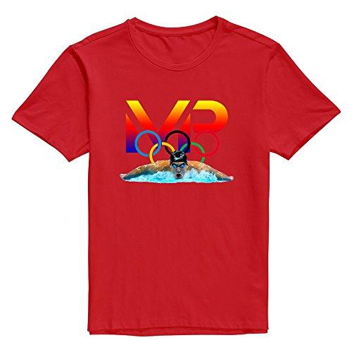 KNOT Men's Michael Phelps Logo4 Unique Design T-Shirt Red US Size M