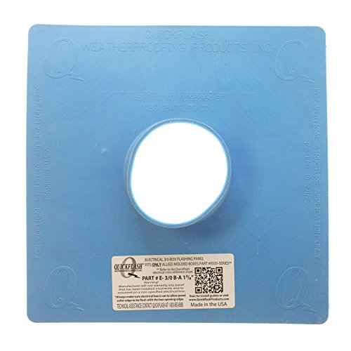 Quickflash E-3/0 B-A 1-3/8 Electrical 3/0 Box Flashing Panel, Round Hole