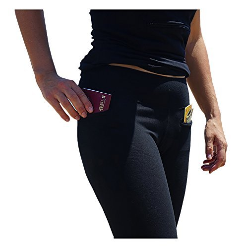Clever Travel Companion Women's Leggings with Secret Pockets, Black, -