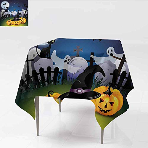 Jbgzzm Halloween Polyester Tablecloth Funny Cartoon Design with Pumpkins Witches Hat Ghosts Graveyard Full Moon Cat Great for Buffet Table W54 xL54 Multicolor -