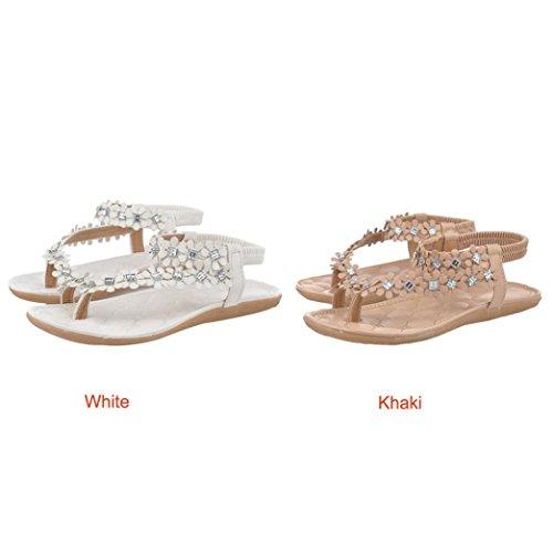 Start Mujer Verano Bohemia Flor Cristal Flip-flop Sandalias Zapatos Caqui
