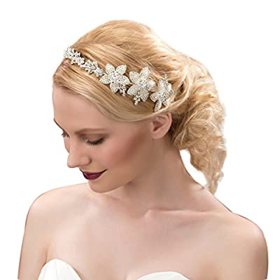 Bridess Women's Floral Rhinestone Embellishing Alloy Wedding Headpiece