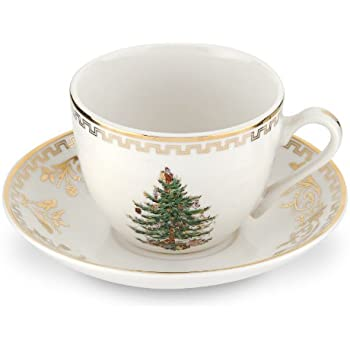 Spode Christmas Tree Gold Teacup and Saucer, Set of 4