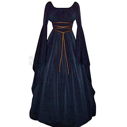Xiaojmake Women's Cosplay Renaissance Medieval Lolita Dress Retro Gown Role Navy ()