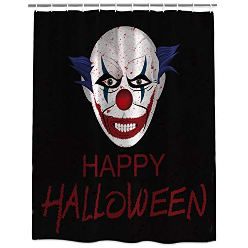 Fabric Shower Curtain Liner with Hooks Mold & Mildew Resistant Waterproof Stall Bathtub Curtains Set for Bathroom Decor - Extra Long 84 Inches, Happy Halloween Clown