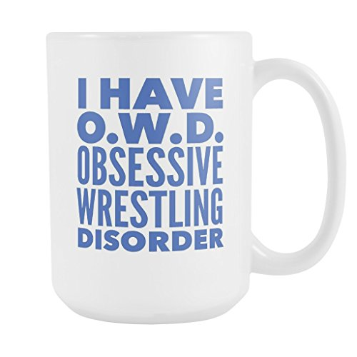 ArtsyMod OWD OBSESSIVE WRESTLING DISORDER Typography Premium Coffee Mug, PERFECT FUN GIFT for the Wrestler, Team Coach, Wrestling Lover! Attractive Durable White Ceramic Mug (15oz., Blue Print)