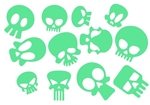 EZSpace 12Pcs Skull and Crossbones Night Glow Sticker Party Supplies Glow in The Dark Stickers]()
