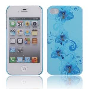 Luminous Protective PC Case for iPhone 4/4S Blue + Flower