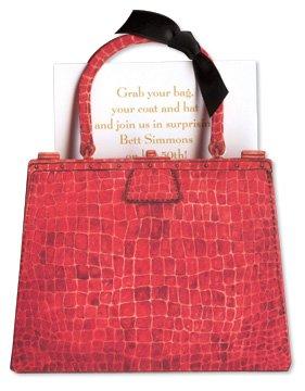 Red Crocodile Bag Die-cut Card, Pack of 10