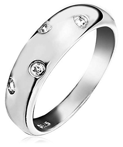Bling Jewelry Single Etoile CZ Band Sterling Silver Ring Etoile Band