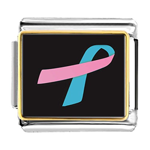 GiftJewelryShop Gold Plated blue with pink Aids Ribbon Bracelet Link Photo Italian (Pink Ribbon Photo Italian Charm)