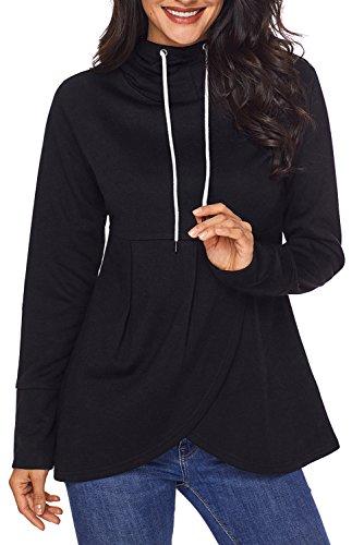HOTAPEI Sleeve Asymmetric Sweatshirt Outwear