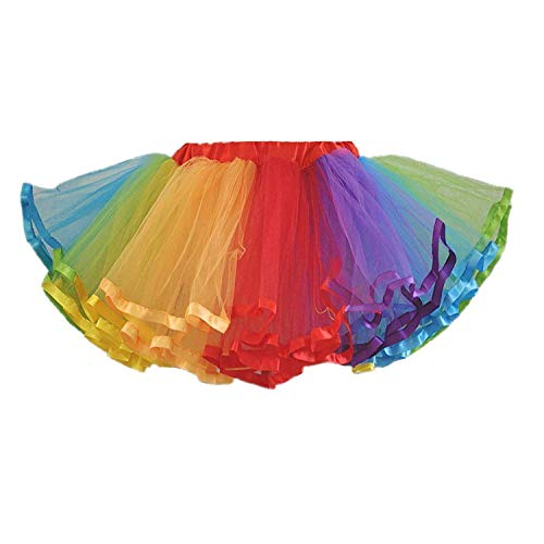 MizHome Womens Plus Size Rainbow Tutu Skirt Layered Tulle Skirt Adult Halloween Costumes Rainbow2
