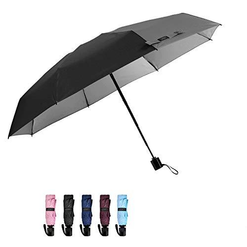 G4Free Compact Mini Travel Umbrella UV Protection Sun & Rain Lightweight Folding Umbrella(Black)