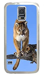 Cougar Kaguar Mountain Lion Wildcat View Tree Custom Samsung Galaxy S5 Case Back Cover, Snap-on Shell Case Polycarbonate PC Plastic Hard Case Transparent hjbrhga1544