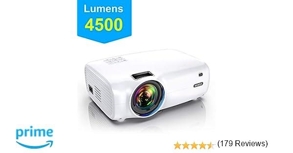 Proyector, WiMiUS 4500 Lúmenes Proyector Portátil Full HD Soporta 1080P Proyector Cine en casa 720P Nativo con Audio Hi-Fi Pantalla 200