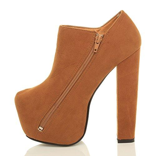 high Ladies Booties Ankle Tan Chunky Suede Boots Concealed Womens Block Zip Ajvani Platform Heel Size qwtHtF