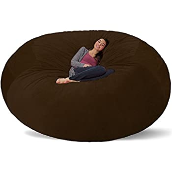 Attractive Comfy Sacks 8 Ft Memory Foam Bean Bag Chair, Brown Furry